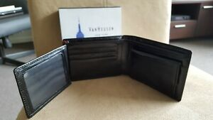 Van Heusen black leather trifold wallet with coin purse - brand new in box