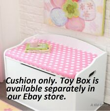 KIDKRAFT AUSTIN TOY BOX STORAGE CHEST SEAT CUSHION - PINK / WHITE POLKA DOTS NEW
