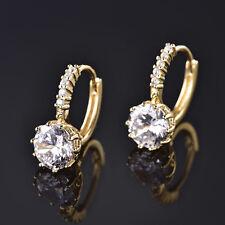 Women 24k Yellow Gold Filled Topaz Eardrop Crystal Ear Dangle Earrings Jewelry