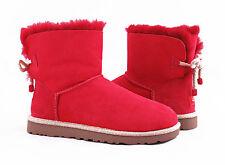 UGG Australia Selene Red Mini Bow Fur Boots Womens 7 *NEW*