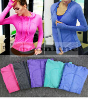 Womens Running Seamless Jacket Quick Dry Long Sleeve Training Zip Hoodie Top