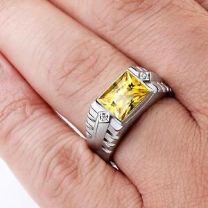 Solid 925 Sterling Silver Men's Ring with Golden Citrine and 2 Diamond Accents