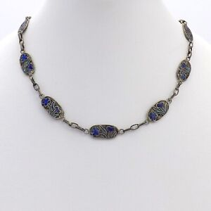 Art Deco Chinese Sterling Silver Blue Enamel Filigree Links Chain Necklace 18in