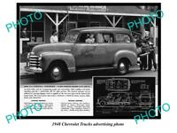 OLD LARGE HISTORIC PHOTO OF 1948 CHEVROLET TRUCK ADVERTISMENT, CARRYALL SUBURBAN