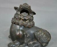 Old Chinese dynasty bronze Foo Fu Dog lion beast Small Incense burner Censer