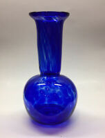 "Cobalt Blue Hand Blown Art Glass Bud Vase~6 1/2""~Signed Jacobson Maine 2010"