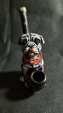 Sad face Ugly pug puppy Handmade Tobacco wood Pipe with 5 silver Screens