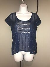 Ladies Hollister Sheer Top.  Blue. Size Small       B2