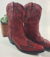 Cowboy Boots, Red w/Black Accents, Leather Uppers, 7 Women's Coldwater Creek,