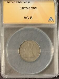 1875-S SEATED 20c PIECE - ANACS VG8