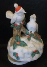 Doves on Branch with Santa Hats Music Box plays Deck The Halls