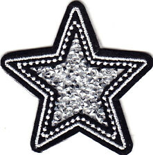STAR w/CRUSHED CRYSTAL CENTER - EMBLEM - VINTAGE - TRIM -  Iron On Patch