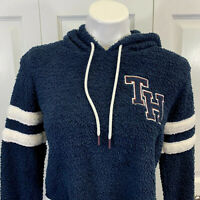 Tommy Hilfiger Cropped Hoodie Pullover S Small Letterman Blue Fleece EUC