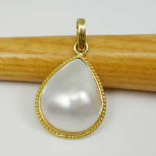 Australian Mabe Pearl Teardrop Pendant Genuine 750 18k 18ct Yellow Gold, 18MPT08