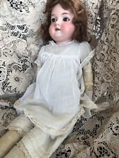 "23"" Antique German Bisque Doll by Armand Marseille Red Mohair Wig Cotton Dress"