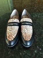 Restricted Brand Black/Animal Print Loafers, 8, NWOB