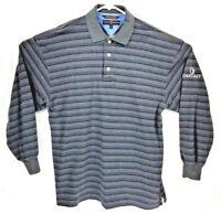 Tommy Hilfiger Men's Polo Golf M L/S Gray Blue Strip Shirt Oakhurst Course LNC