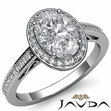 Flawless Oval Diamond Engagement GIA I VS2 Platinum 950 Halo Pave Set Ring 2ct