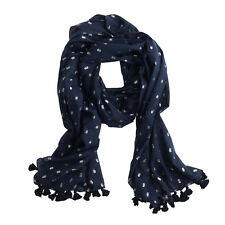 "J. Crew 25"" X 78"" Navy Cotton Scarf with Silver Spots and Tassle Fringe #A0137"
