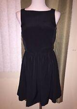 American Apparel Black Swing Dress Large L Back Buttons Skate
