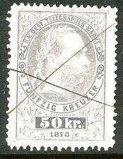 ÖSTERREICH - TELEGRAFENMARKEN 1874, Kaiser Franz Joseph Telegrafenmarke 50 Kr.