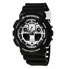 Casio GA100BW-1A Gent's G-Shock Alarm Black Resin Strap Dive Watch