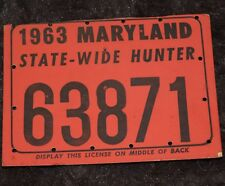 MARYLAND STATE WIDE HUNTING LICENSE 1963