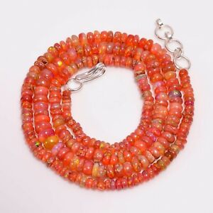 """35 CT100% Super Natural Red Fire Ethiopian Opal Roundel Loose Beads Necklace 17"""""""