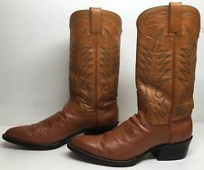 VTG MENS UNBRANDED COWBOY LEATHER DARK ORANGE BOOTS SIZE ?
