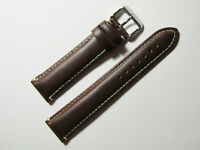 20mm Hadley Roma Brown Contrast Stitched Oil-Tan Leather Mens Band  MS885
