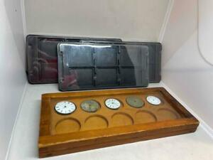 ANTIQUE WOODEN POCKET WATCH STORAGE BOX 4 WATCHES & WATCHMAKERS STORAGE TRAYS