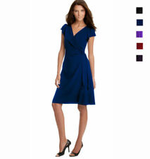 Polyester Wrap Dresses for Women with Cap Sleeve