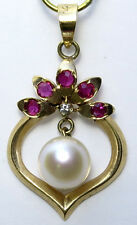 14k Yellow Gold Akoya Cultured Pearl and Genuine Ruby Pendant