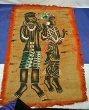 BURLAP  ART TAPESTRY, HANDPAINTED ON FABRIC, AFRICAN AMERICAN FIGURES