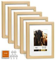 "CAVEPOP 8x10"" Mat 5x7"" Picture Frame 5 Pieces Set- Natural Wood"