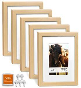 "CAVEPOP 8x10"" Mat 5x7"" Picture Frame 5 Pieces Set- Natural Wood"