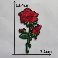 Red Rose Flower Patch for Embroidery Cloth Patches Badge Iron Sew On