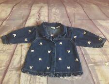 Little Wonders Baby Girl Denim Long Sleeve Button Down Shirt Teddy Bears Sz 6-9M