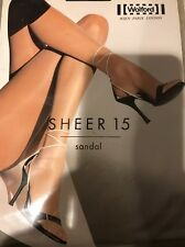 Wolford Sheer 15 Sandal 15 Tights Pantyhose Color: Black Size: Small  18096 - 07