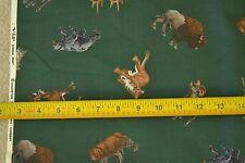 "By-the-Half-Yard, 45"", Large Mammals on Dark-Green Polished Cotton, Vip, M4934"