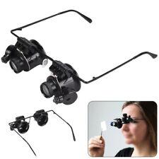 Lupenbrille Uhrmacher Feinmechanik Modellbau LED Vergrößerungsglas 20 Fach