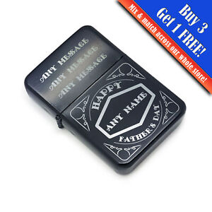Personalised Engraved Black Fathers Day Lighter with Retro Design