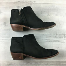 SAM EDELMAN Black Ankle Booties Pull On Zipper 6.5 M Suede