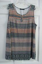 Max Jeans Womens Sz S Multi-Print Keyhole Swing Tank Top Sleeveless Shirt~Soft