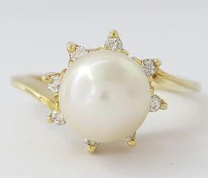 14k Yellow Gold Akoya Pearl & Diamond Fashion Ring 7.6-7.7mm Pearl Very Fine