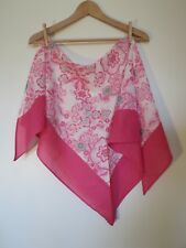 BURBERRY 100% Cotton Pink Green Floral Oversize Triangle Kerchief Scarf