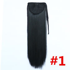 1# 24'' Long Synthetic Tie on Straight Ponytail Hair Extensions Women Hairpieces