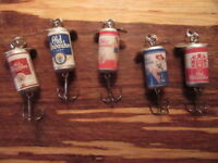 5 Different Old Milwaukee & OM Light Beer Promotional Spinning Fishing Lure