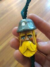 "BOLO TIE, hand-carved, wood figure (""miner"") handmade, string tie, neckerchief"