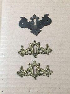 Lot Of 3 Antique Skeleton Key Escutcheon Plates Brass & Iron